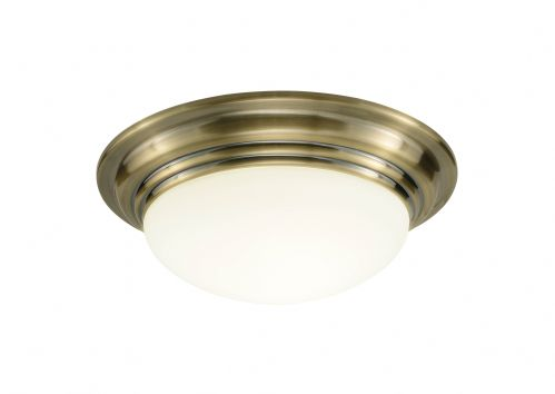 Barclay Antique Brass IP44 Flush Ceiling Light BAR5075 (054984)